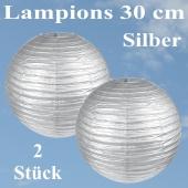 Lampions Silber, 30 cm, 2 Stück Set