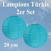 Lampions Türkis, 20 cm, 2er Set