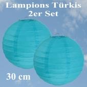 Lampions Türkis, 30 cm, 2er Set
