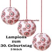 Lampions, Verkehrsschild 30, 3 Stück-Set