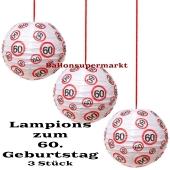 Lampions, Verkehrsschild 60, 3 Stück-Set