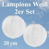 Lampions Weiß, 20 cm, 2er Set