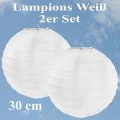 Lampions Weiß, 30 cm, 2er Set