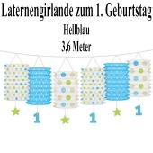 Laternengirlande zum 1. Geburtstag, Hellblau