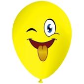 Luftballon Gesicht, Emoji streckt Zunge raus, 1 Stück