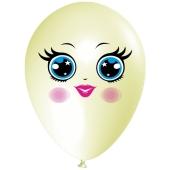 Luftballon Gesicht, Frau mit blauen Augen, elfenbein, 1 Stück