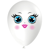 Luftballon Gesicht, Frau mit blauen Augen, weiß, 1 Stück