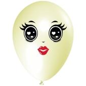 Luftballon Gesicht, Frau mit schwarzen Augen, elfenbein, 1 Stück