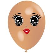 Luftballon Gesicht, Frau mit schwarzen Augen, hautfarben, 1 Stück
