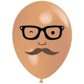 Luftballon Gesicht, Mann mit Brille und Bart, hautfarben, 1 Stück