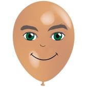 Luftballon Gesicht, Mann mit grünen Augen, hautfarben, 1 Stück