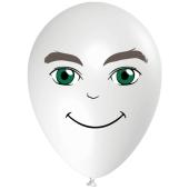 Luftballon Gesicht, Mann mit grünen Augen, weiss, 1 Stück