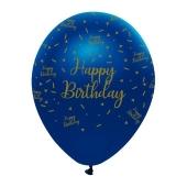 Luftballons, Latexballons , Happy Birthday Metallic Blau