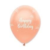 Luftballons, Latexballons , Happy Birthday Rosegold