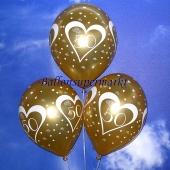 Luftballons zur Goldhochzeit, Zahl 50, Gold