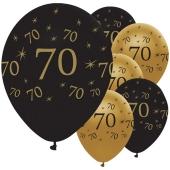 Black and Gold 70, Luftballons aus Latex zum 70. Geburtstag