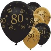 Black and Gold 80, Luftballons aus Latex zum 80. Geburtstag