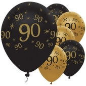Black and Gold 90, Luftballons aus Latex zum 90. Geburtstag