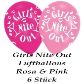 Hen Party Luftballons in Rosa und Pink, 6 Stück, Girls Nite Out