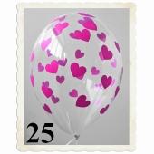 Luftballons 30 cm, Kristall, Transparent mit pinken Herzen, 25 Stück