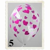 Luftballons 30 cm, Kristall, Transparent mit pinken Herzen, 5 Stück