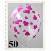 Luftballons 30 cm, Kristall, Transparent mit pinken Herzen, 50 Stück