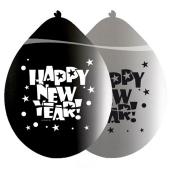 Luftballons zu Silvester und Neujahr, Happy New Year, silber-schwarz, 8 Stück