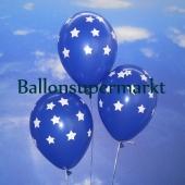 Luftballons zu Silvester und Neujahr, blau mit Sternen, 10 Stueck