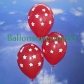 Luftballons zu Silvester und Neujahr, rot mit Sternen, 10 Stueck