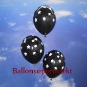 Luftballons zu Silvester und Neujahr, schwarz mit Sternen, 10 Stueck
