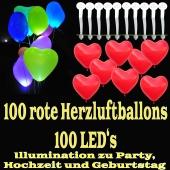 LED-Herzluftballons, Rot , 100 Stück