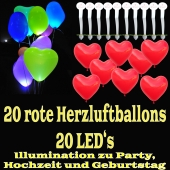 LED-Herzluftballons, Rot , 20 Stück
