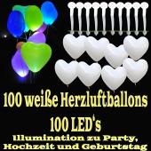 LED-Herzluftballons, Weiß, 100 Stück