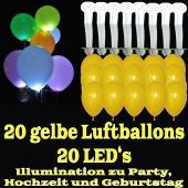 LED-Luftballons, Gelb, 20 Stück