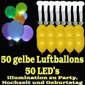 LED-Luftballons, Gelb, 50 Stück