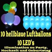LED-Luftballons, Hellblau, 10 Stück