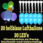 LED-Luftballons, Hellblau, 20 Stück