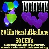 LED-Herzluftballons, Lila , 50 Stück