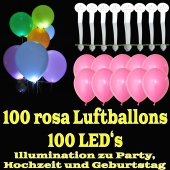 LED-Luftballons, Rosa, 100 Stück