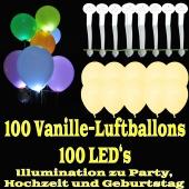 LED-Luftballons, Vanille, 100 Stück