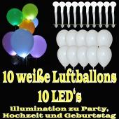 LED-Luftballons, Weiß, 10 Stück