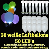 LED-Luftballons, Weiß, 50 Stück