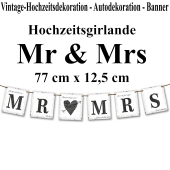 Letterbanner Mr & Mrs, Vintage-Look