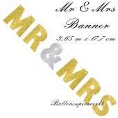 Glitzerndes Letterbanner Mr & Mrs