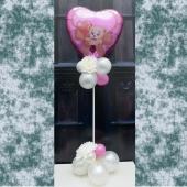 Liebe Mama! Schön, dass es Dich gibt! Ballondekoration und Tischdekoration zum Muttertag mit pinkem Herzluftballon