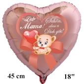 Liebe Mama! Schön, dass es Dich gibt! Luftballon in Herzform aus Folie, rosegold, mit Helium zum Muttertag