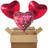 Ich liebe dich / Hearts, 3 Herzluftballons aus Folie mit Helium, 1 Ballon Ich liebe dich und 2 rote Herzballons