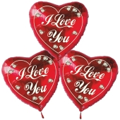 Liebesgrüße 3 I Love You Luftballons mit Ballongas Helium