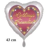 Lieblings Freundin, Herzluftballon, 43 cm, satinweiß, ohne Helium