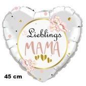 Lieblings-Mama. Herzluftballon in Weiß, 45 cm, mit Helium